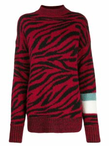 Brognano zebra-stripe knitted jumper - Red