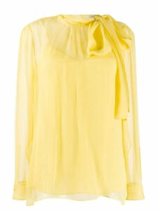 Valentino pussy bow sheer blouse - Yellow