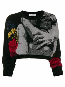 Valentino jacquard knitted cropped sweater - Black