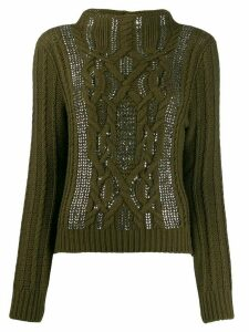Ermanno Scervino sequin aran-knit sweatshirt - Green