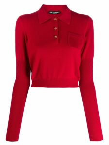 Dolce & Gabbana cropped polo jumper - Red