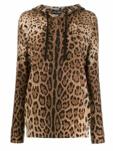 Dolce & Gabbana cashmere knitted leopard hoodie - Brown