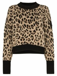 Moncler leopard print jumper - Brown