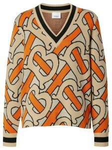 Burberry Monogram Intarsia Wool V-neck Sweater - ORANGE