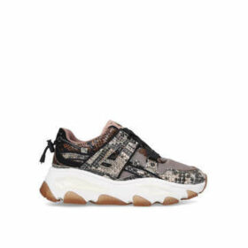 Kurt Geiger London Lettie - Nude Snake Print Studded Chunky Trainers