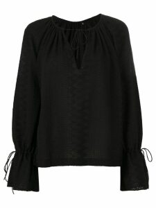 Reinaldo Lourenço long sleeved textured blouse - Black