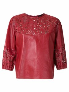 Andrea Bogosian cut out pattern leather blouse - Red