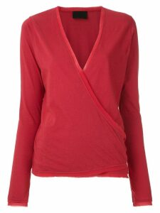Andrea Bogosian long sleeved wrap blouse - Red