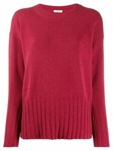 Peserico ribbed knit detail sweater - PINK