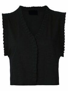 Andrea Bogosian pleated trim Poncho blouse - Black