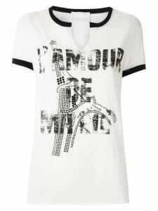 Andrea Bogosian printed embellished blouse - White