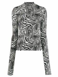 Andamane zebra print turtleneck sweatshirt - White