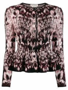 Alexander McQueen abstract print peplum cardigan - Red