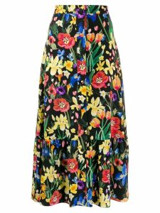 Chinti and Parker floral print long skirt - Black