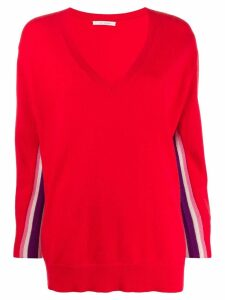 Chinti and Parker v-neck oversized jumper - Red