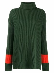 Chinti & Parker contrast stripe ribbed jumper - Green