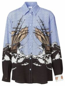 Burberry Ship Print Silk Oversized Shirt and Tie Twinset - Blue