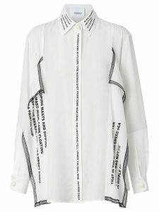 Burberry Mariner print lace trim oversized shirt - White
