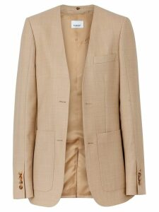 Burberry Fish-scale Print Bib Detail Wool Tailored Jacket - NEUTRALS