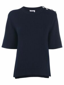 Chloé button shoulder knitted top - Blue