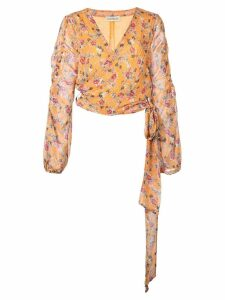 Nicholas floral print wrap blouse - ORANGE