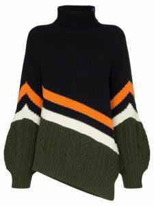 Sacai striped roll-neck jumper - Green