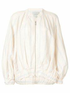 Lee Mathews Madox stripe bomber jacket - NEUTRALS