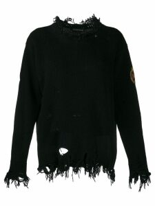 Etro distressed logo patch jumper - Black