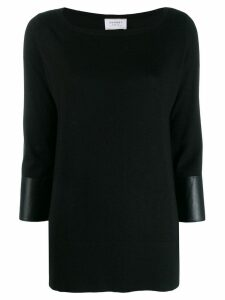 Snobby Sheep leather trim jumper - Black