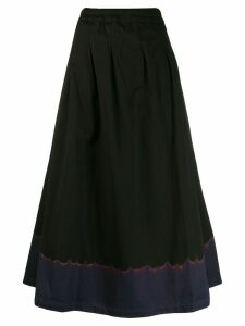 Suzusan contrast flared A-line skirt - Black
