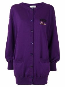 Moschino embroidered logo cardigan - Purple