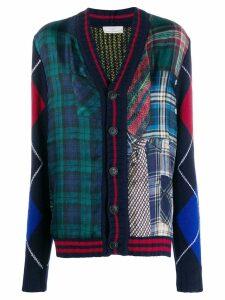 Pierre-Louis Mascia patchwork plaid cardigan - Blue