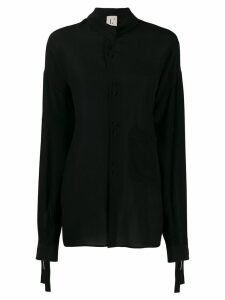 L'Autre Chose silk mandarin shirt - Black
