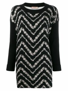 Twin-Set chevron patterned sweater - Black