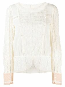 Tsumori Chisato embroidered long-sleeved blouse - NEUTRALS