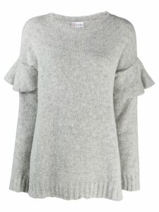 RedValentino ruffled sleeve knitted sweater - Grey