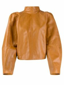 Isabel Marant leather turtle neck blouse - Brown