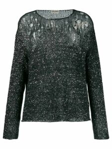 Saint Laurent open-knit sequin embellished sweater - Black