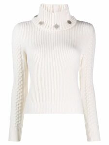 Alexander McQueen turtle neck knitted sweater - White