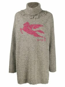 Etro distressed turtleneck sweater - Grey