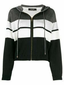 Twin-Set striped zip-up hoodie - Black