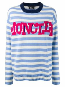 Moncler Grenoble striped logo knit sweater - White