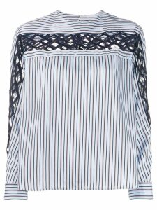 Sandro Paris striped embroidered shirt - Blue