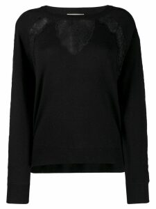 Twin-Set lace panel jumper - Black