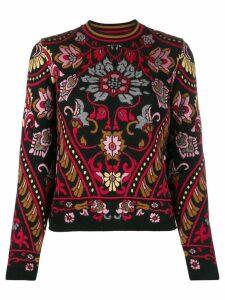 Alberta Ferretti floral pattern knitted sweater - Black