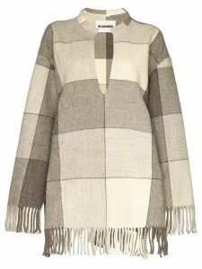 Jil Sander fringed checked tunic - NEUTRALS