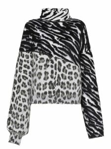 Unravel Project mixed animal print jumper - Black