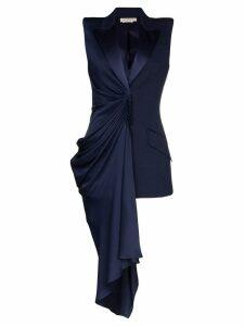 Alexander McQueen asymmetric draped sleeveless blazer - Blue