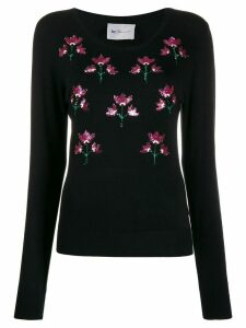 be blumarine floral embroidered sweatshirt - Black