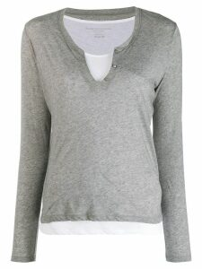 Majestic Filatures layered U-neck top - Grey